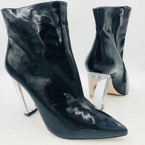 JESSICA SIMPSON TAREK Clear High Heel Black Boots